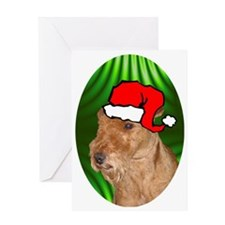 welshterrierxmas-oval Greeting Card