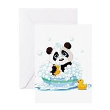 Panda in Bubbles Greeting Cards