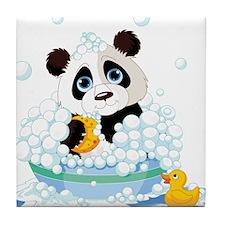Panda in Bubbles Tile Coaster