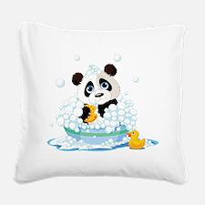 Panda in Bubbles Square Canvas Pillow