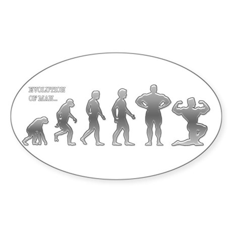 BODYBUILDING EVOLUTION Oval Sticker