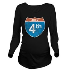 July 4th Hwy Long Sleeve Maternity T-Shirt