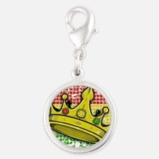 crown Silver Round Charm
