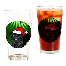 pugxmas(black)-round Drinking Glass