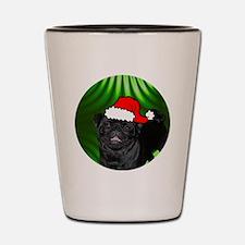 pugxmas(black)-round Shot Glass