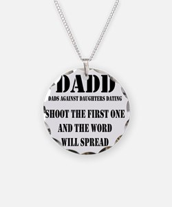 1 DADD Words Black Necklace Circle Charm