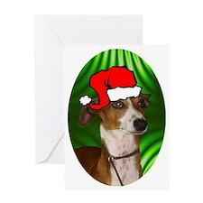 italiangreyhoundxmas-oval Greeting Card