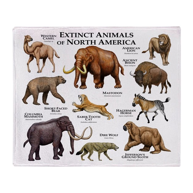 Extinct Animals Of North America Throw Blanket By
