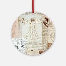 VitruvianShowerCurtain Round Ornament