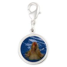 Uriel the Pekin Duck Silver Round Charm