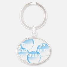 Angry Bubbles White Oval Keychain