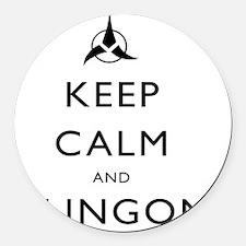 Keep-Calm-Klingon Round Car Magnet