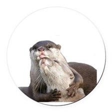 Significant Otter White Round Car Magnet