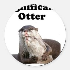 Significant Otter Black Round Car Magnet