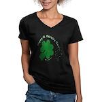 Shamrock and Confetti Women's V-Neck Dark T-Shirt