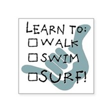 "leanr to surf1 Square Sticker 3"" x 3"""