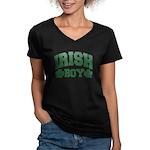 Irish Boy Women's V-Neck Dark T-Shirt