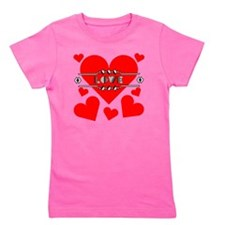 deco-love-hearts-large Girl's Tee