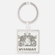 VintageMyanmar2 Square Keychain