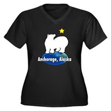 haiearthoval Women's Plus Size Dark V-Neck T-Shirt