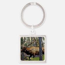 Bull elk in pines Square Keychain