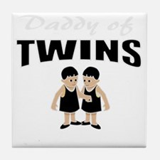 cute daddy of twins Tile Coaster
