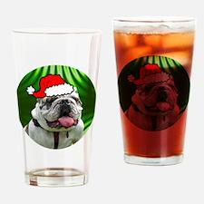 bulldogxmas-round Drinking Glass