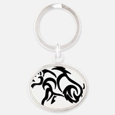 Boar filled in solid Oval Keychain
