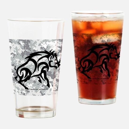Digital Camo boar Drinking Glass