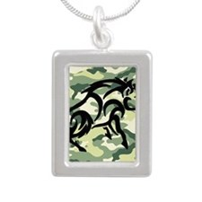 woodland Camo blk boar Silver Portrait Necklace