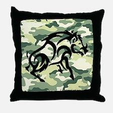 woodland Camo blk boar Throw Pillow