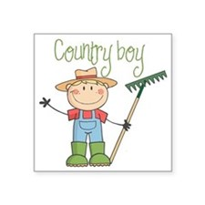 "country boy Square Sticker 3"" x 3"""