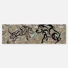 multicam tribal boar and dog bump Sticker (Bumper)