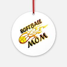 Softball Mom (flame) copy Round Ornament