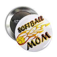 """Softball Mom (flame) copy 2.25"""" Button"""