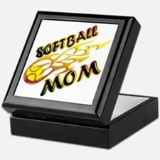 Softball Mom (flame) copy Keepsake Box