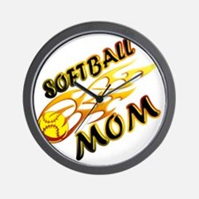 Softball Mom (flame) copy Wall Clock