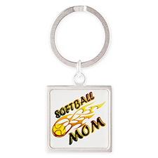 Softball Mom (flame) copy Square Keychain
