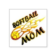 "Softball Mom (flame) copy Square Sticker 3"" x 3"""
