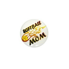 Softball Mom (flame) copy Mini Button