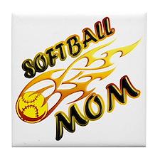 Softball Mom (flame) copy Tile Coaster
