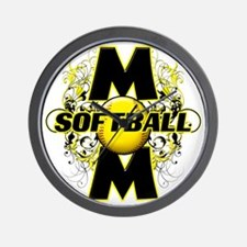 Softball Mom (cross) copy Wall Clock