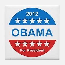 2012 obama for presidentr stars red w Tile Coaster
