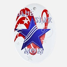 Fancy Blue Star Mom-Trans Oval Ornament