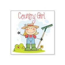 "country girl Square Sticker 3"" x 3"""