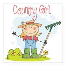 "country girl Square Car Magnet 3"" x 3"""