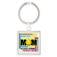 What is a Softball Mom copy Square Keychain