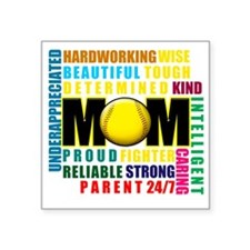 """What is a Softball Mom copy Square Sticker 3"""" x 3"""""""