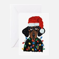 Dachshund Sanata Ta... Greeting Cards