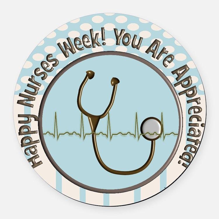 CP happy nurses week chocolate bl Round Car Magnet